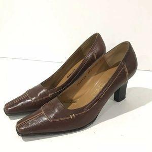 Salvatore Ferragamo Brown Heel Square Toe Shoes